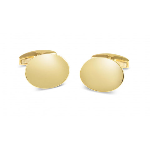 18ct Gold Plain Oval Cufflinks