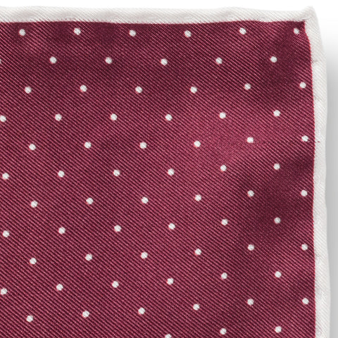 Personalised Silk Pocket Square in Wine Red with White Polka Dot