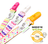 Pacifier Clip with 2-Sided Design - 3 Pack - Girls Set