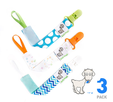 Baby Boy Pacifier Clip Leash Holder Clip 3 Pack by Billy Goat baby Gear