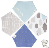 Baby Bandana Bibs - Ultra Soft, Absorbent Organic Cotton - Cloud Set - Unisex - 4-Pack - Boys & Girls
