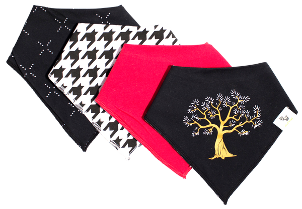 Bandana Bib - Durable, Super Absorbent Organic Cotton - Olive Tree - Unisex - 4-Pack Boys & Girls