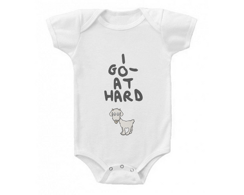 Billy Goat Baby Organic Onesie 'Go-at Hard' Design