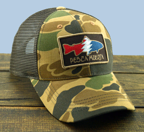 Camo Trout Patch Mesh-Back Trucker Hat