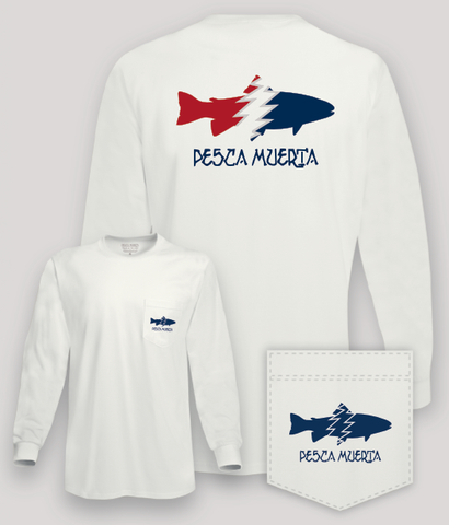 Long Sleeve Pocket T-Shirt - Pesca Muerta Trout Logo