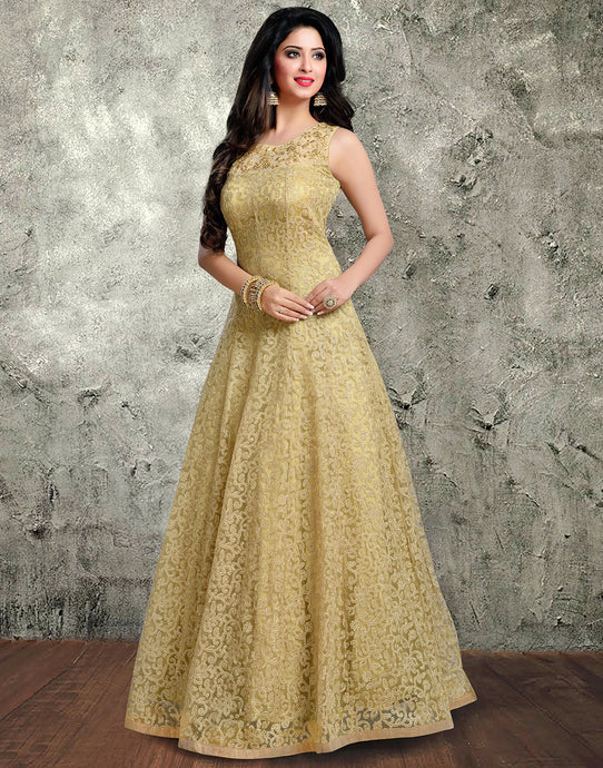 Meena Bazaar: Net Gown With Floral Embroidery