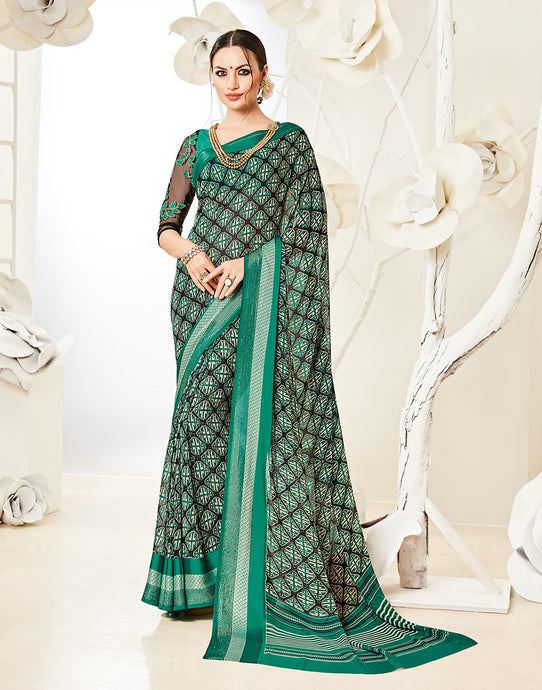 Meena Bazaar : Georgette Saree With All-over Abstract Print