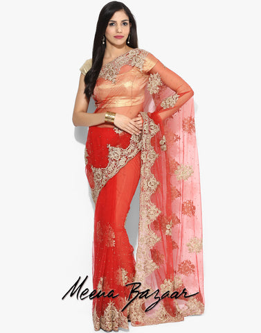 red-net-saree