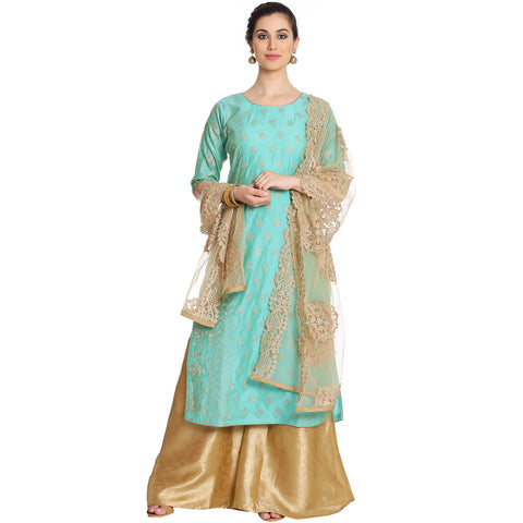 Meena Bazaar: Sea Green Embroidered Cotton chanderi Sharara Suit