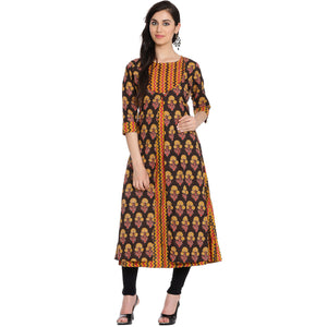 Meena Bazaar: Double Layered Cotton Chanderi Kurti With Floral Print