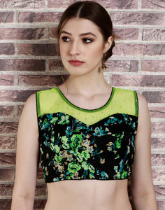 Black-lime colour printed blouse with stone work