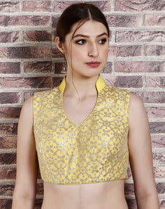 Yellow colour net blouse with sequins work
