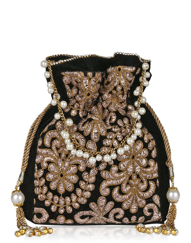 Floral Gota Embroidered Velvet Potli With Pearl Studded String By Meena Bazaar