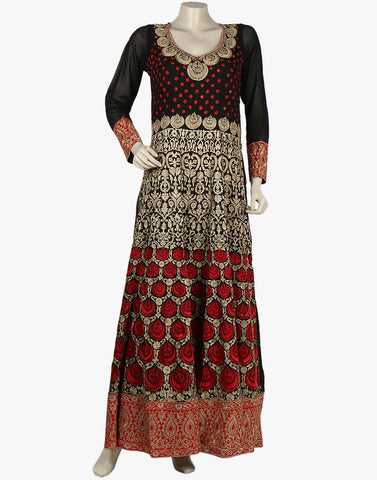 Georgette Suit with All-over Thread Embroidered Jaal By Meena Bazaar