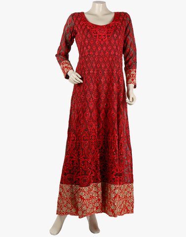 Georgette Suit With All-Over Floral thread Embroidery By Meena Bazaar