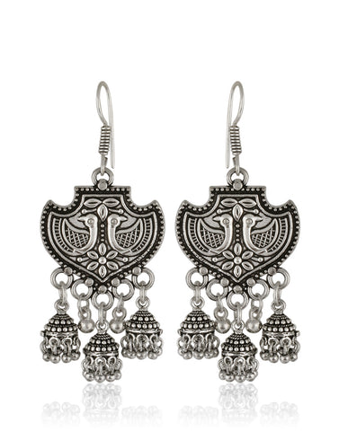 Traditional Dangler Earrings in Oxidised Silver By Meena Bazaar