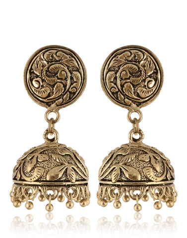 Traditional Jhumkas In Oxidised Silver With Gold Finish By Meena Bazaar