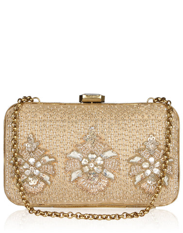 Zari Embroidered Satin Box Clutch By Meena Bazaar