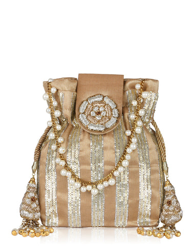 Sequince Embellished Tissue Potli With Pearl Sudded String By Meena Bazaar