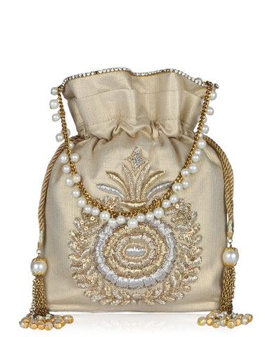 Floral Gota Embroidered Tissue Potli With Pearl Studded String By Meena Bazaar