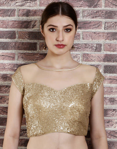 Golden-beige blouse with net detailing