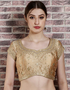Beige colour dupion silk blouse with mirror work and golden embroidery