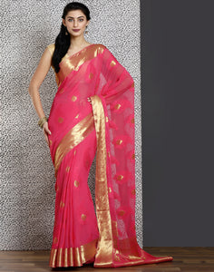 Pink colour cotton woven hand-loom saree