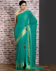 Green colour chiffon saree  with stone work