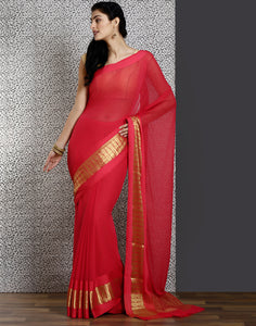 Meena bazaar: Chiffon saree  with stone work