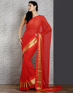 Red colour chiffon saree with stone work