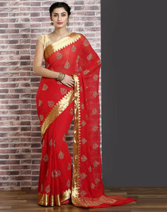 Red colour woven saree with gold detailing