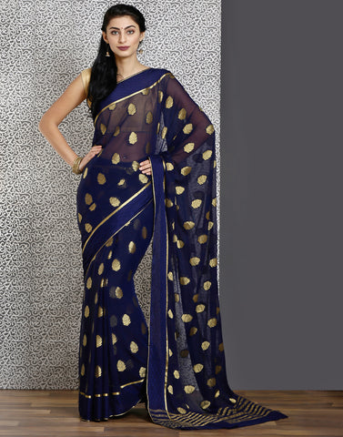Navy-blue colour woven saree with gold deatiling
