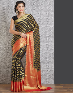 Black colour woven saree with gold detailing