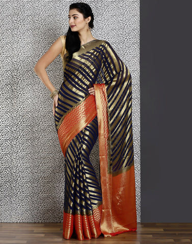 Navy-blue colour woven saree with gold detailing