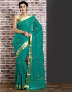 Green  colour woven saree with self design golden detailing