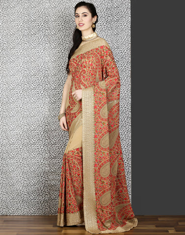 Meena bazaar:Beige colour georgette saree with embroidery-stone work