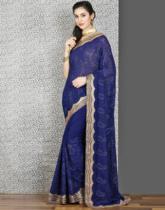 Meena Bazaar:Navy-Blue colour saree with embroidery-stone work.