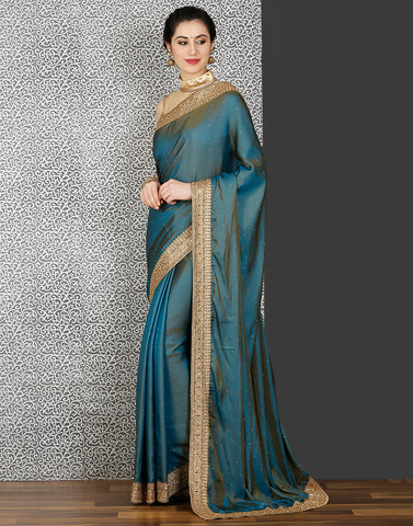 Meena Bazaar:Lake-blue and beige colour satin saree with stone work