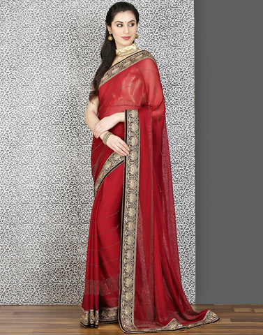 Meena Bazaar:Maroon colour saree with bead work and embroidery