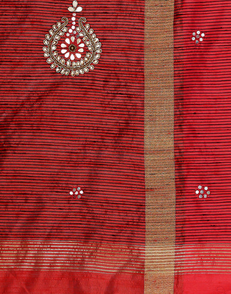 Meena Bazaar:  Dupion silk saree with woven zari border