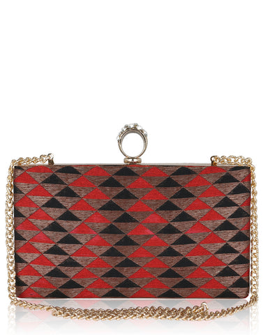 Geometrical Banarasi Brocade Clutch By Meena Bazaar