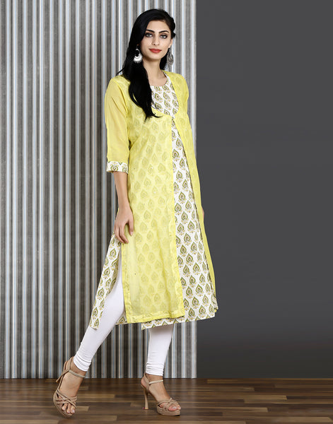 Meena Bazaar : Cotton chanderi double layered kurti