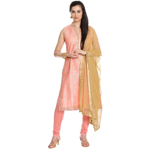Meena Bazaar: Pink Chanderi Suit With Gota Patti Embroidery