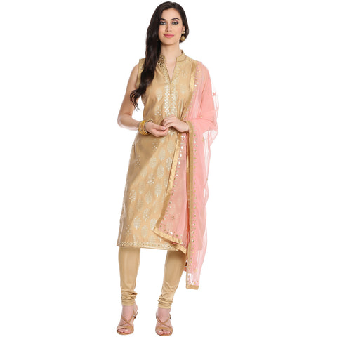 Meena Bazaar: Beige Cotton Chanderi Suit With Gota Patti Embroidery