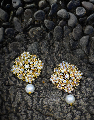 Meena Bazaar: Pearl Cluster Drop Earrings