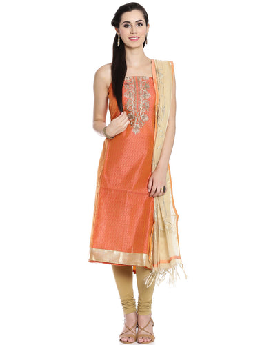 Meena Bazaar: Unstitched Cotton Chanderi Suit With Embroidered Yoke