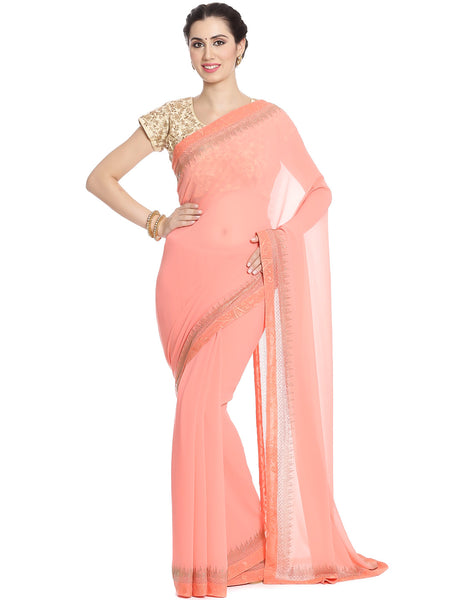 Meena Bazaar: Georgette Saree With Embellished Border