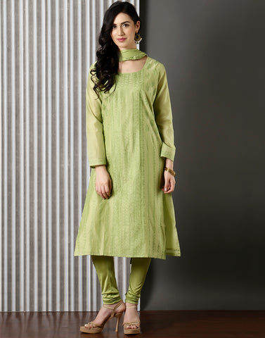 Pista green Cotton Chanderi Suit With Self Thread Embroidery