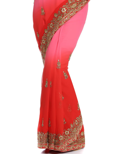 Meena Bazaar: Ombre Saree With Floral Zari Embroidery