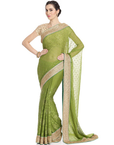 Meena Bazaar: Embroidered Chiffon Saree In Half and Half Style
